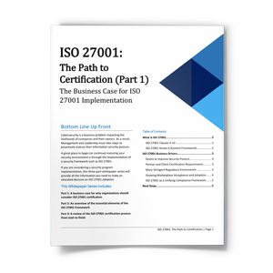 ISO 27001 Path to Certification: The Business Case for ISO 27001 Implementation Part 1