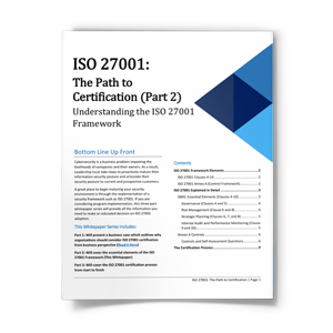 ISO 27001 Path to Certification: The Business Case for ISO 27001 Implementation Part 2