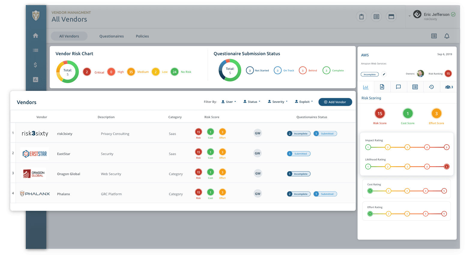 Vendor Management Screen
